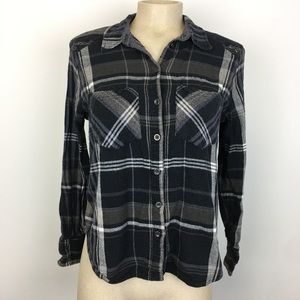 Free People Navy Plaid Buttom-Up Blouse Size XS